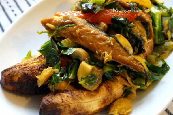 fish stir fry and roasted plantain.