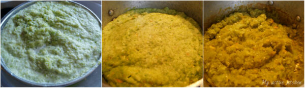 image collage of blended green pepper on a sieve.