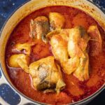a pot of freshly cooked catfish stew.