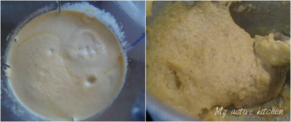 image of bleded plantain in a blender and in a pot being cooked