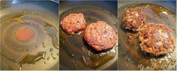 the brocess shot of frying beef patties