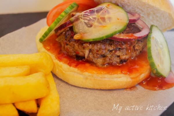 Suya burger and chips