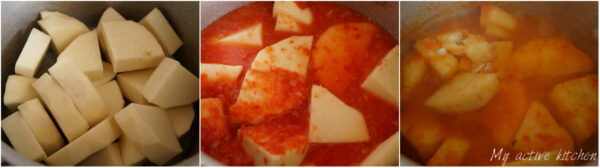 chopped peeled yam in a pan. the second image had the yam covered with blended pepper mix and the last image contain yam and pepper being cooked