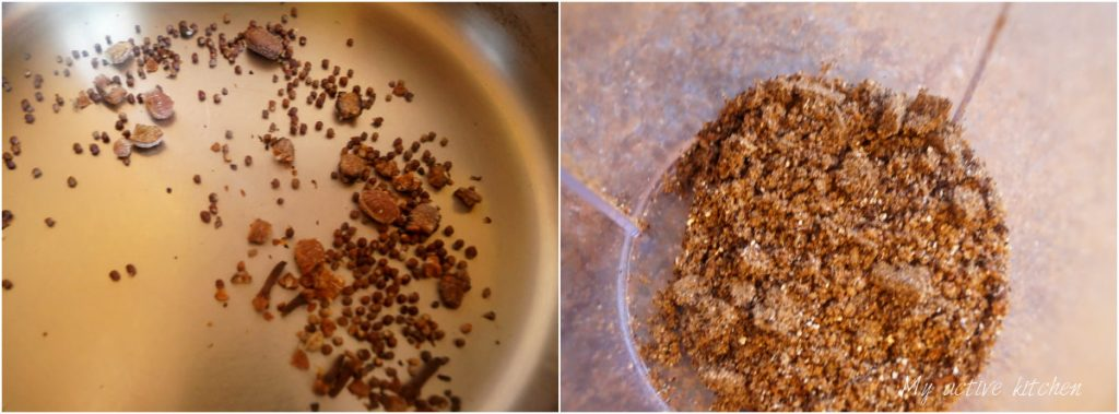 blending of spices.