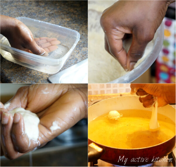 process shot of how to make puff puff