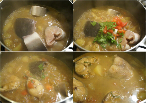 collage illustrating the cooking process for making pepper soup with fresh fish.