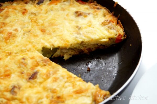 image of plantain frittata in a pan