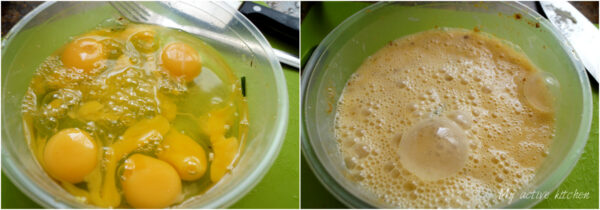 image collage; one image has six eggs cracked into it and the other bowl contained whisked egg