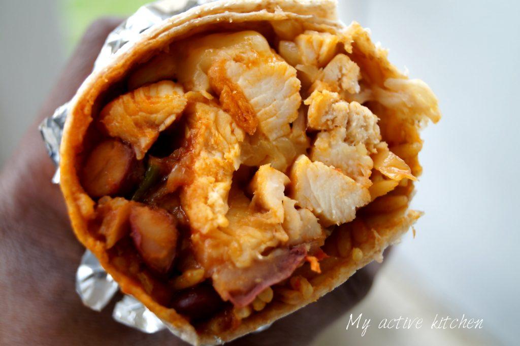 close shot of burrito.