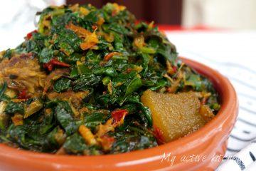 overhead shot of nigerian spinach stew