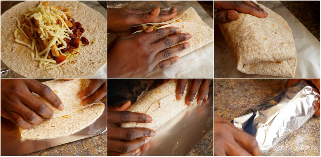 illustration on how to wrap burrito.