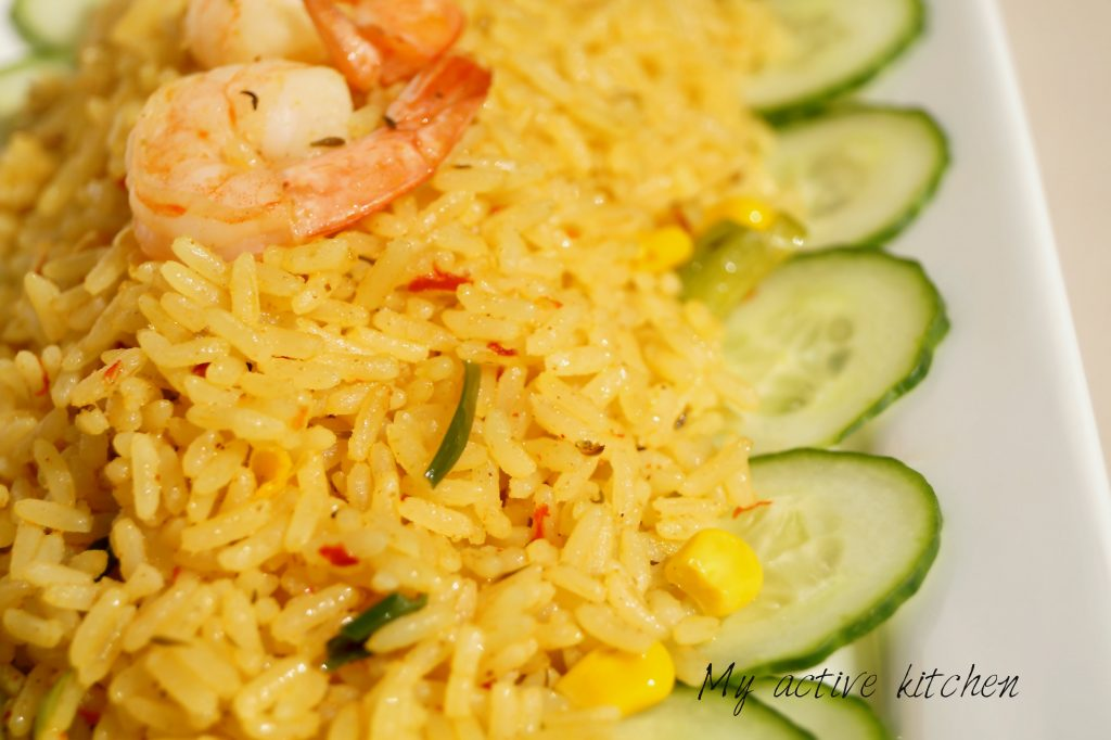 coconut rice with prawns