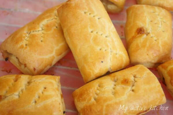 image of sausage roll on a cooling rack
