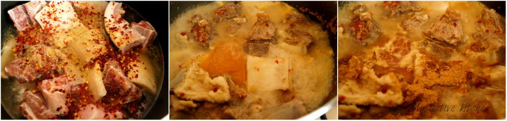 goat meat boiling in a pot