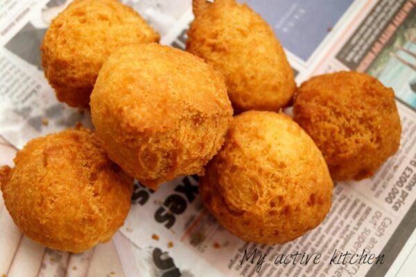 over head shot of six fried dough balls