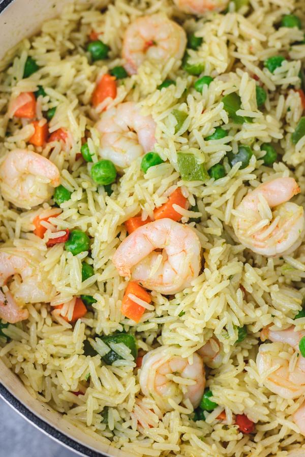 shrimp fried rice in a skillet.