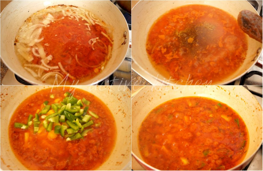 image collage of stew garnished with chopped green peppers