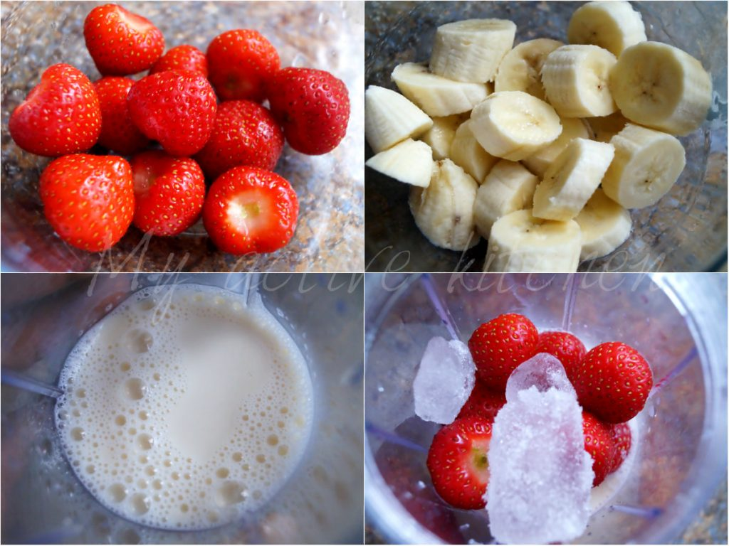 process shot of making Banana and strawberry smoothie.