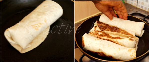 illustration of how to finish shawarma on the stove.