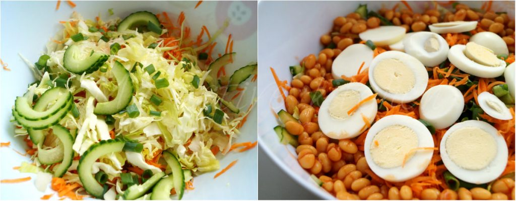two images of salad. one with boiled eggs, baked beans and the other without