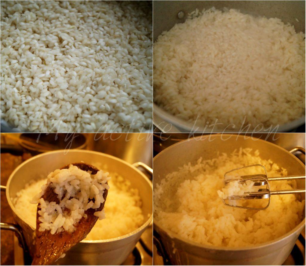 process shot of making tuwo shinkafa