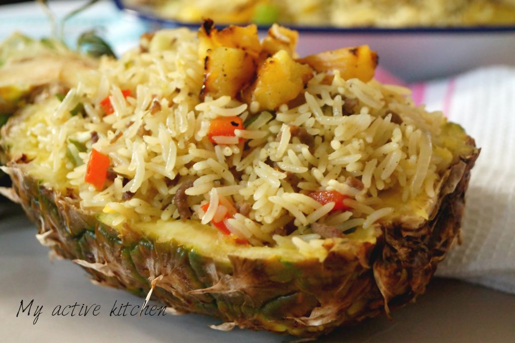 close shot of pineapple fried rice