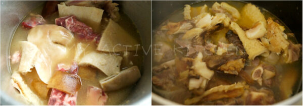 image process of boiled assorted meat in a pot