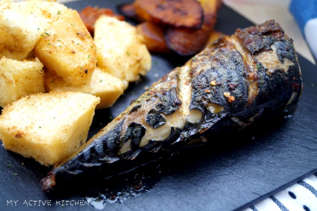 roasted yam and fish