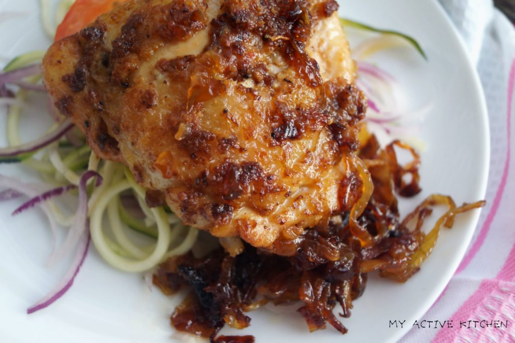 baked suya chicken and caramelised onion served over spiralised zucchini.