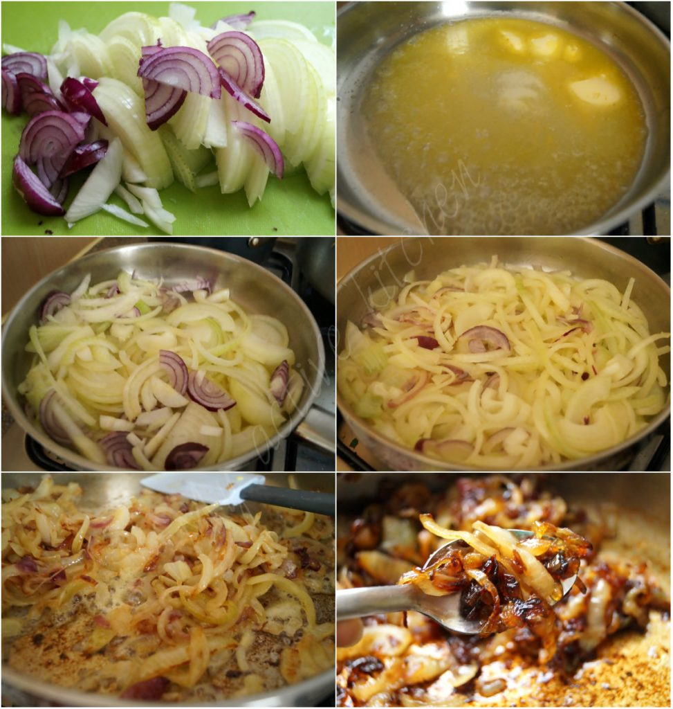 process shot of how to make caramelised onion.