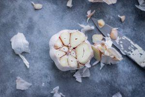cut off garlic head.