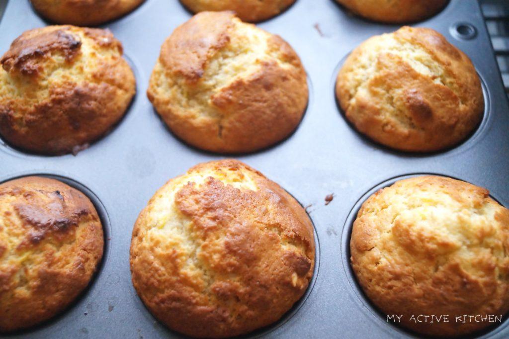 Plantain muffins still in baking pan.
