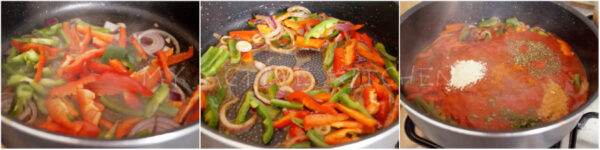 stir frying peppers.
