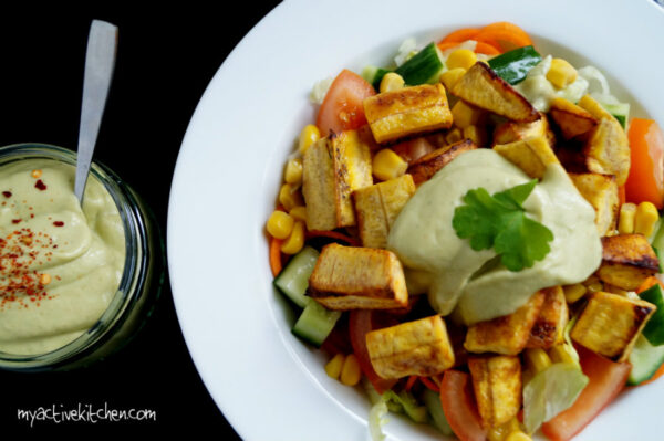 plantain salad and spicy avocado dressing