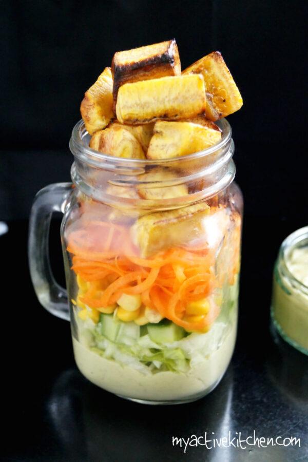 salad with avocado dressing in mason jar
