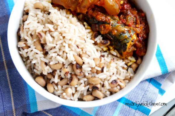 image of rice and beans with fried stew