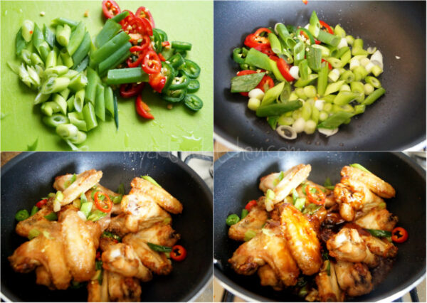 chopped peppers and spring onions