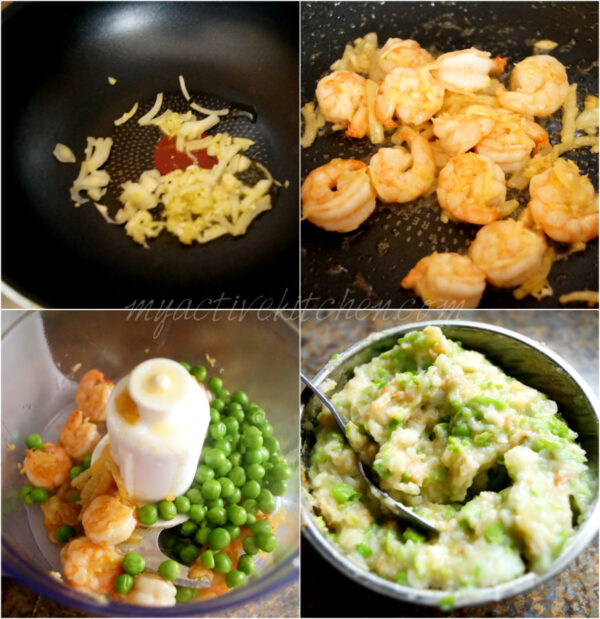 Image process shot on how to make pastry filling with prawns and peas