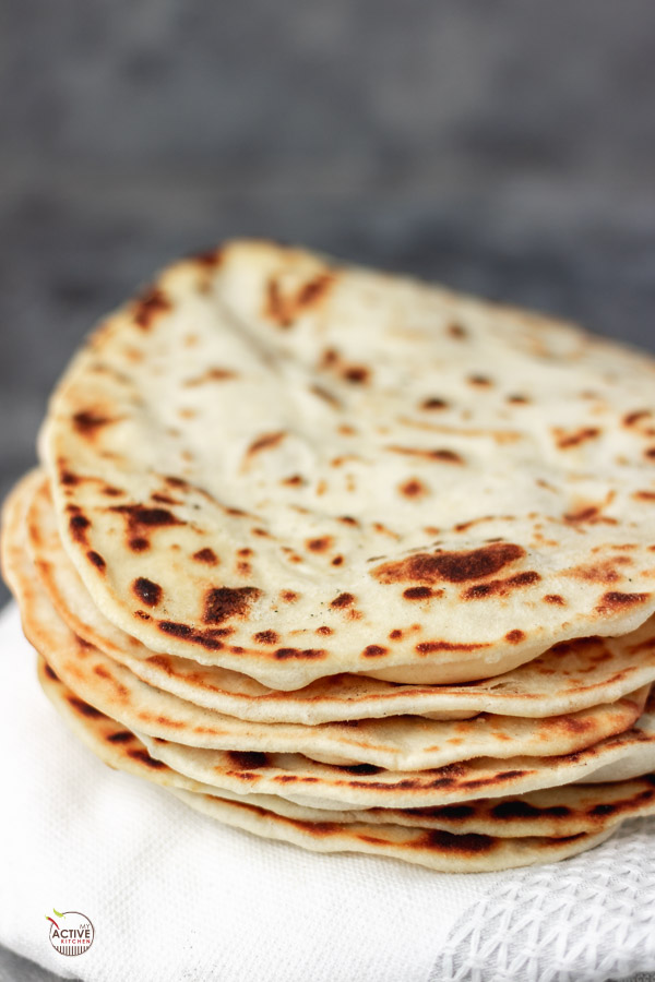 stack of homemade shawarma bread that can also double as pita bread.
