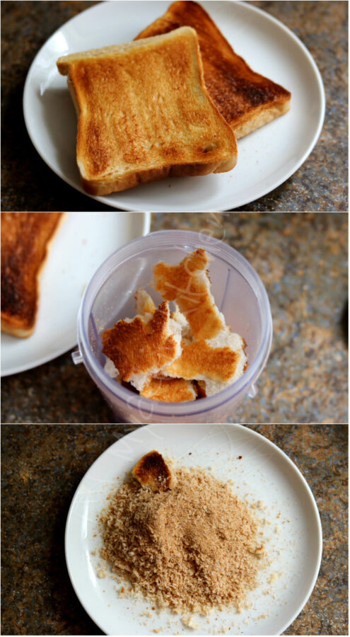 toasted bread in a blender