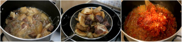 assorted meat being fried in a pot over the stove.