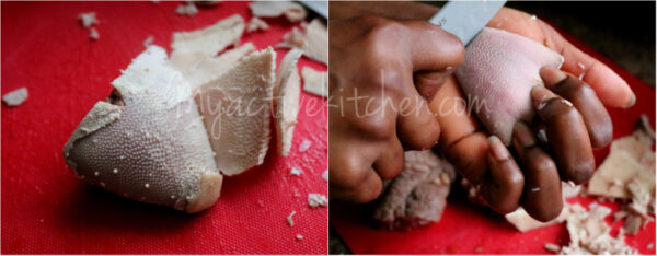 the process of cleaning cow tongue.