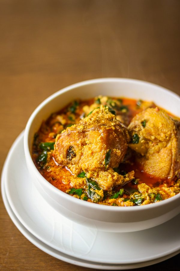 nigerian egusi soup made with smoked turkey