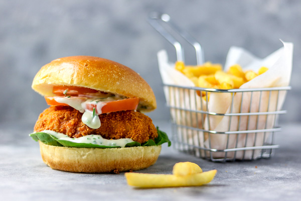 small image of chips, burger with mayo-chive dressing