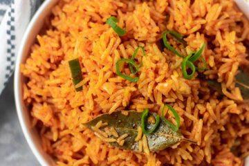 overhead shot jollof rice