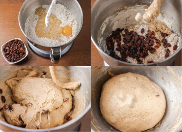 process shot of making hot cross bun dough.