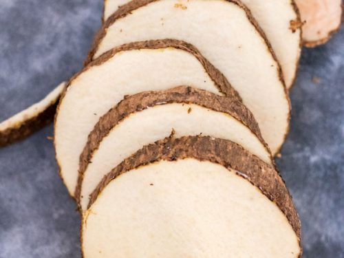 slices of unpeeled yam.