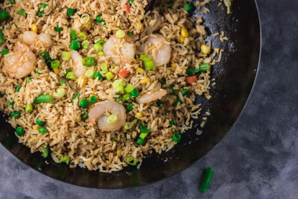 food in a wok.
