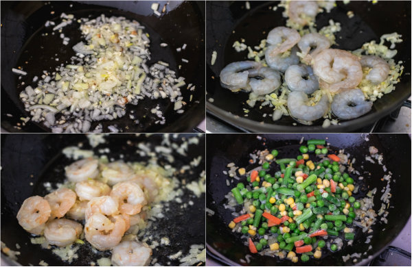 collage illustrating the process of making shrimp fried rice.
