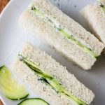 easy cucumber sandwiches with cream cheese fingers on a plate.